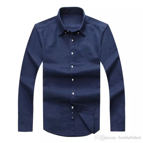top popular Drop Shipping 2017 Autumn Men's long sleeved Slim Fit Shirts Men USA Brand POLO Shirts Fashion 100% Oxford Casual Shirt Small Horse Clothes 2019