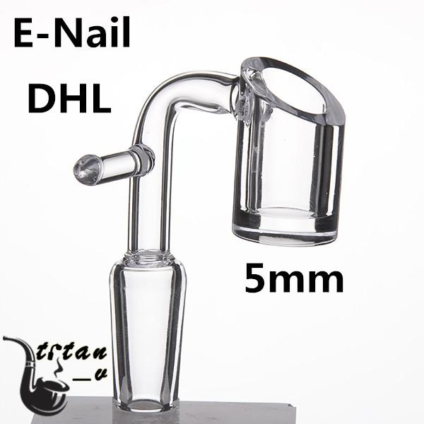 DHL Domeless Electric Banger Nail For 20mm Heating Coil 5mm Bottom Clear Joint 90 Degree Glass Water Bongs Dab Oil Rig 668