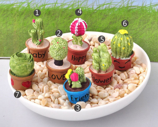 Cactus Plants Miniatures Fairy Garden Home Decoration Tools Terrarium moss Farm Bonsai Resin Crafts Decor