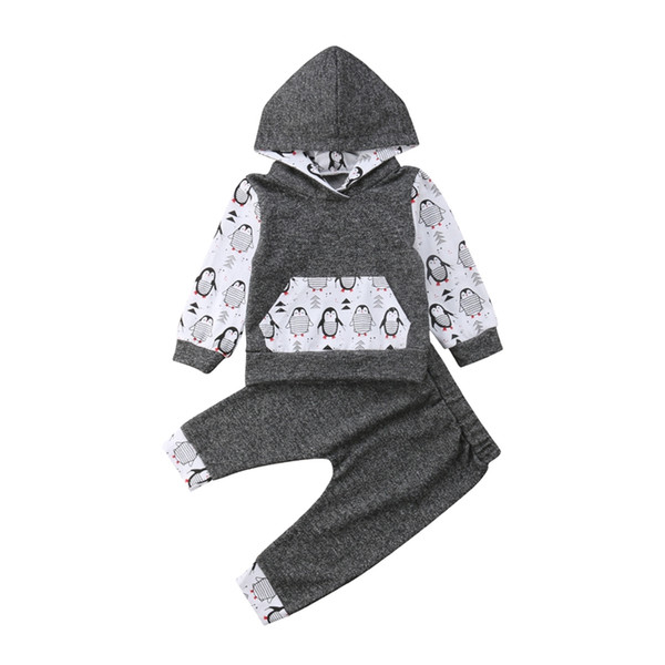 New Cute Cool Penguin Baby Boy Girl Outfits Long Sleeve and Long Pants Hooded Outfit Set Casual Clothes