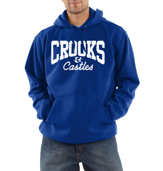 Mens Crooks Hoodie Autumn Winter CROOKS Letter Printed Long Sleeve Sweatshirts Casual Ribbed Sportswear Black White Red Letters Design