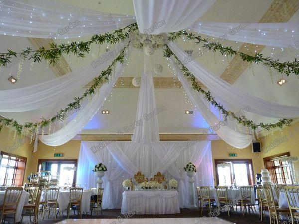 Drapé auvent de toit de mariage pour la décoration tissu de mariage longueur 10m x 0.45m large 12pcs / lot