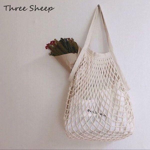 Summer Beach Bag Hollow Out Crochet Shopping Bag Ladies Hand Bags Cotton Women Handbags White Canvas Knitting Tote Bags