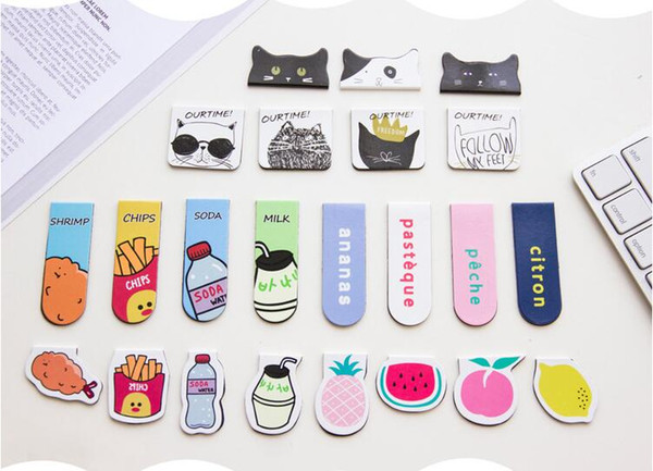 best selling 20 packs (2 pcs pack)Cartoon Fruit Food Chips Magnet Bookmark Paper Clip Kids School Office Supply Gift Stationery