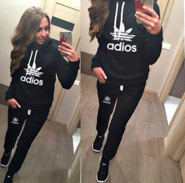 Kadın spor takım elbise Hoodies Kazak + Pantolon Koşu Spor Eşofman 2 Parça koşu setleri survetement femme giyim