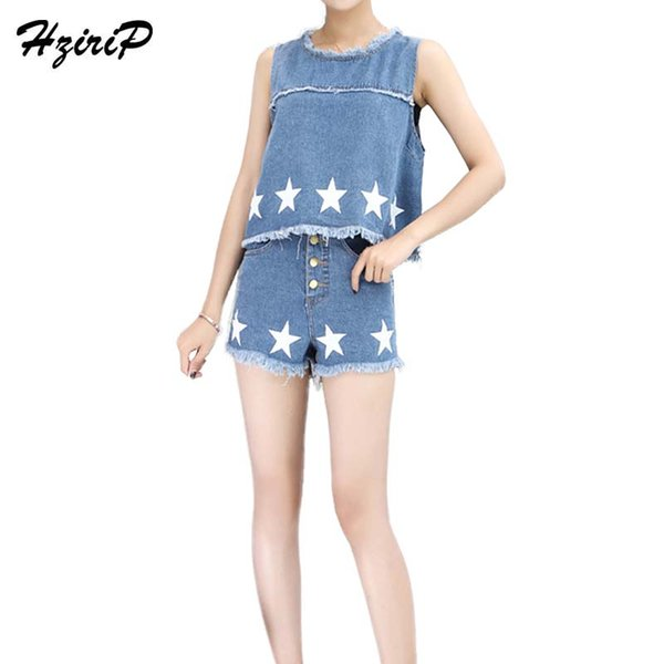 HziriP Women Denim Crop Tops+Short 2017 Summer 2 Pieces Set Star Printed Sleeveless Jeans T-shirts And High Waisted Shorts Sets