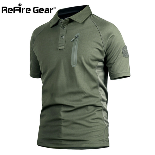 ReFire Gear Men's Tactical Military T Shirt Summer Army Force Camouflage T-shirt for Man Breathable Pocket Short Sleeve T Shirts S917