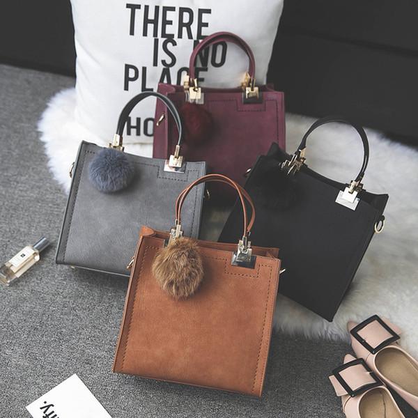 2018 new hair ball matte fashion shoulder bag simple small square bag girl retro shoulder diagonal