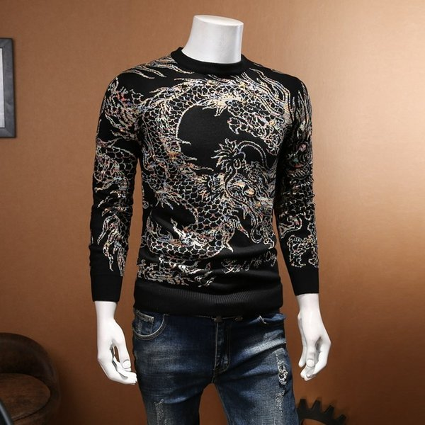 Luxury Dragon Paern Sweater Men Club Party Prom Men Fashion Clothing Knit Mens Pullover Sweaters Chompa Hombre Plus 5xl