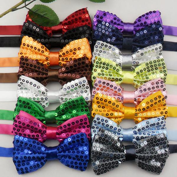 Lentejuelas Pajaritas para hombre Bling Bowties Para mujer Esmoquin Corbatas Mariposa Jacquard Bowtie 17 colores, 100pcs