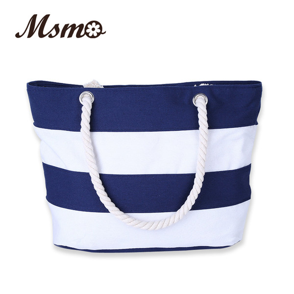 Wholesale-2016 Women Beach Canvas Bag Fashion Color Stripes Printing Handbags Ladies Large Shoulder Bag Totes Casual Bolsa Shopping Bags