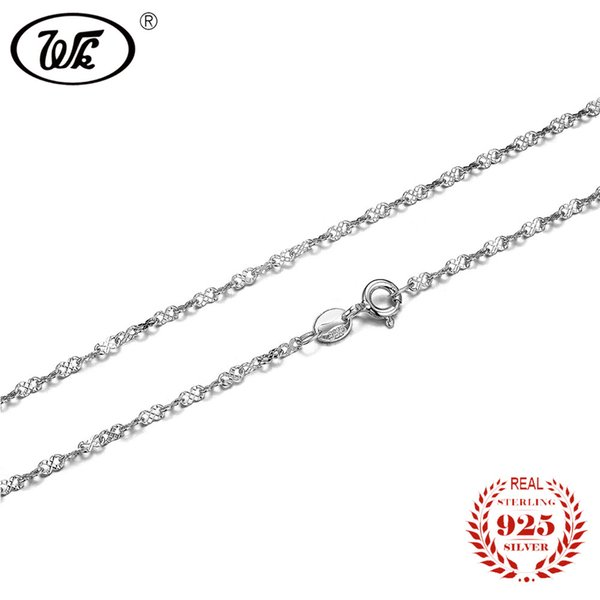 WK NEW Unique Letter 8 Style Shine 925 Sterling Silver Chain Necklace Women Ladies Girls Choker Necklaces 45cm 18