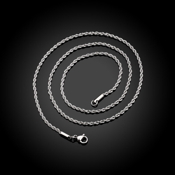 100% Stainless Steel Necklace Fashion Jewelry Twisted Chain Hot Sale Factory Price 2 mm 18-28 Inches