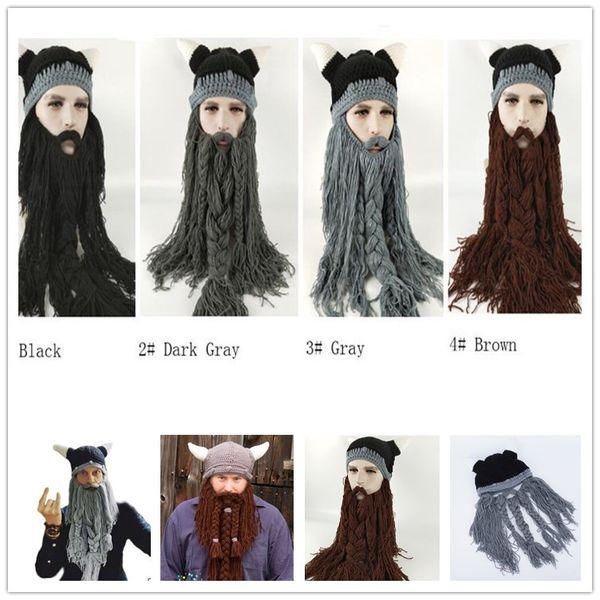 Funny Wig Beard Viking Handmade Knitted hats Winter Warm Crochet Caps Men Women Halloween Christmas Gift Party Face Mask Beanies horn
