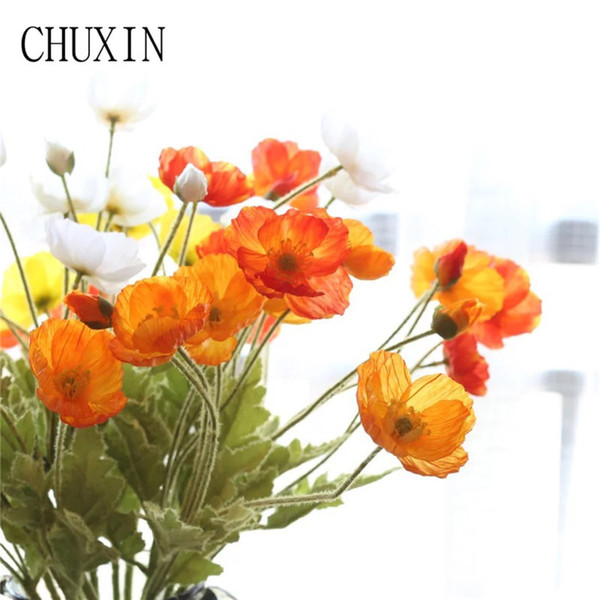 11pcs 59cm Silk Fake Flower Home Furniture Simulation Vivid Beatiful Real Tounch Poppy Flowers For Wedding Party Decorative C18111501