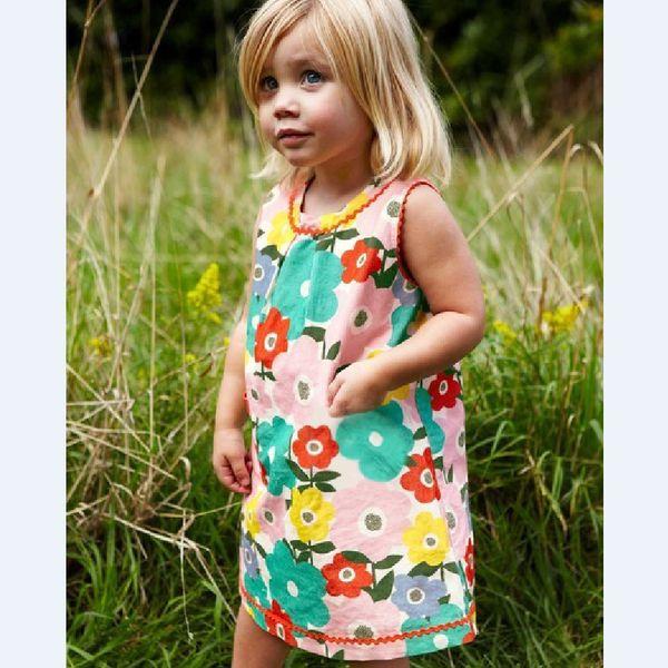Verão nova chegada meninas vestidos crianças impresso dos desenhos animados flor animal cotton dress moda casual roupa dos miúdos top quality