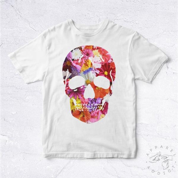 Shirt Skull Flowers Sweet Crane Squelette Face Bone Colorful Trendy Mens 2018 fashion Brand T Shirt O-Neck 100%cotton