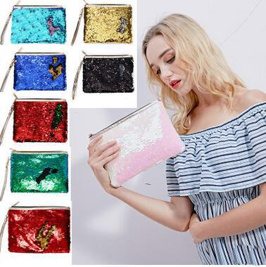 Mermaid bag double-sided sequins hand bag women fashion evening party change pocket lady girls Dinner Bag