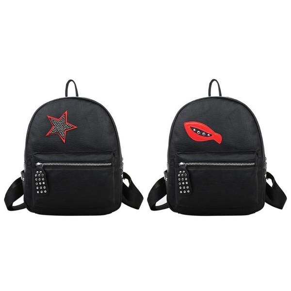 Korean Women PU Leather Backpack Small School Bags for Teenager Girls Cute Rivet Casual Shoulder Bag Peppy Style Backpacks 2018