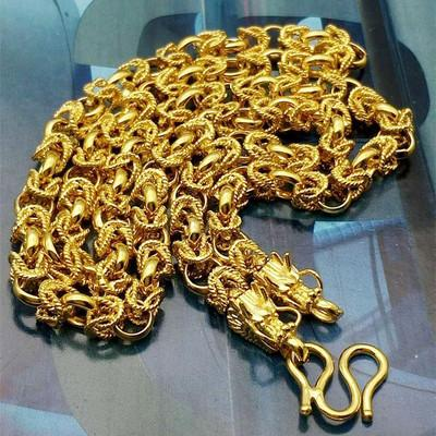 High imitation gold jewelry Faucet handmade dragon chain Brass color man necklace Gold plated necklace 24K men's keel chain necklace