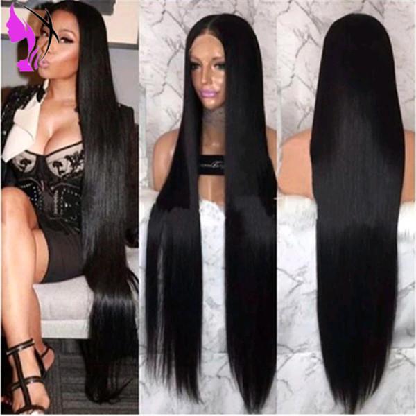 30inches lange schwarze / braune / blonde / rote gerade brasilianische Spitzeperücken für schwarze Frauen hitzebeständige synthetische Spitzefrontseitenperücken mit dem Baby-Haar