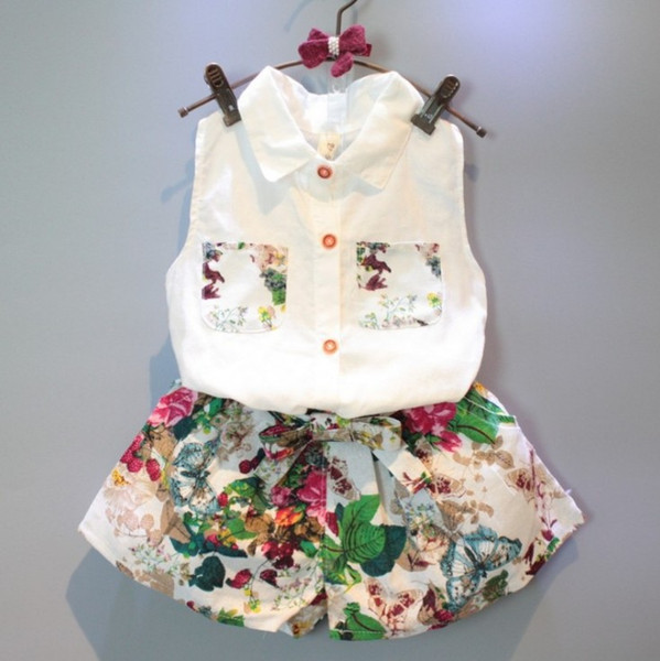 Baby girls outfits sleeveless shirts+floral shorts 2pcs children outfits kids boutiques clothing set girl summer suit