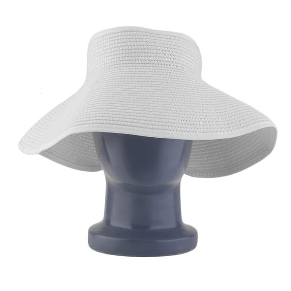 Ladies Women Outdoor Summer Sun Beach Folding Roll Up Wide Brim Straw Visor Hat Cap For Walking Cycling Fishing