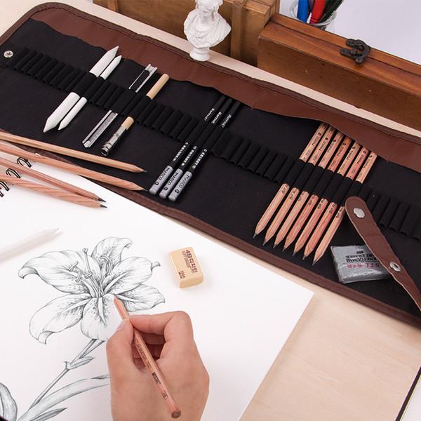 Students Sketch 18 PCs Pencil Set Eraser Pencils Holder Bag Pencil Cutter Tool HB 2B 3B 4B 5B 6b 7B 8B Stationery Kit