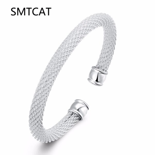 SMTCAT Hot Sales Silver Color Cuff Bracelets Mesh Bangle Fashion 925 Jewelry for Women Classic Design Simple Drop Shipping