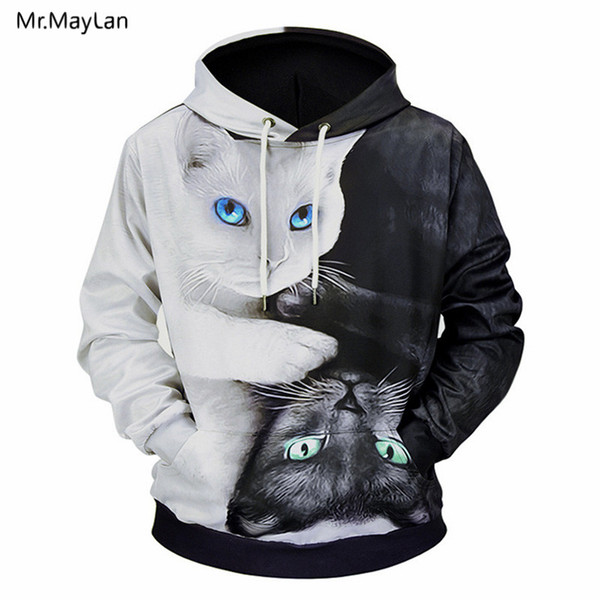 3D Print Animals Black and White Cats Jackets Men/Women Hipster Streetwear Pullover Hood Sweatshirts Boy Hoodies Outwear Clothes