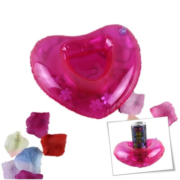 Rosso gonfiabile a forma di cuore amore bere tazza titolare sottobicchiere galleggiante bottiglia piattino giocattolo da bagno piscina per giochi all'aperto spiaggia AAA376