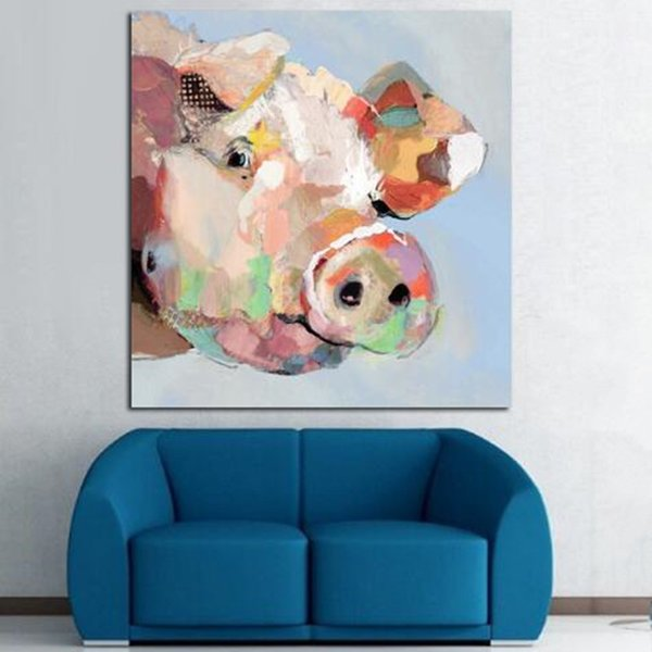 Modern Abstract Animal Pig Hand Painted Wall Art Home Deco Art Oil Painting On High Quality Canvas Multi Sizes A105