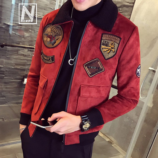 Red Bomber Jackets Mens Pilot Giacche Uomo e cappotto Collo in pelliccia Erkek Khaki Winter Slim Fit Deerskin Parka Velvet