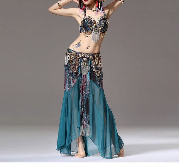 Stage Performance Women Dancewear Tribal Bellydance Outfit Set C/D Cup Coins Bra Skirts Belly Dance Costume 2pcs Bra Skirt