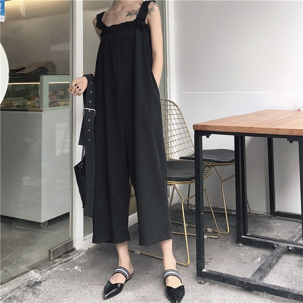2018 Fashion Women Jumpsuits rompers Vogue Bare Shoulder Loose Casual Rompers Summer Chiffon Jumpsuits Nine Wide Leg Pants