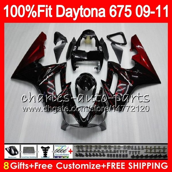 Injection Red flames For Triumph Daytona 675 09 10 11 12 Bodywork 107HM.3 Daytona-675 Daytona675 Daytona 675 2009 2010 2011 2012 Fairing