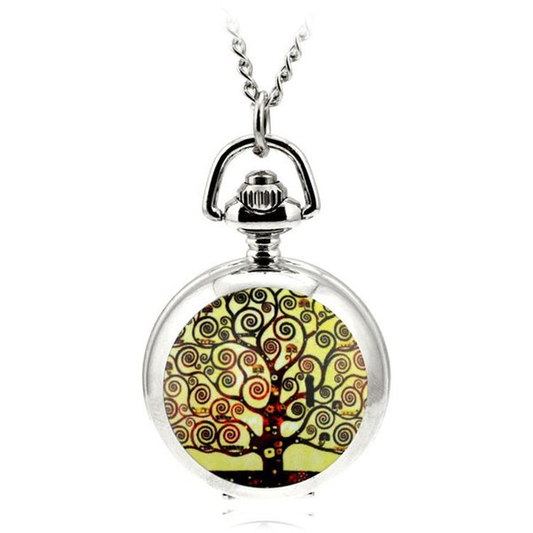 A092 Pocket & Fob Watch Antique Retro Wishing Tree Quartz Pocket Watch Necklace Pendant Sweater Chain Women Clock Gift