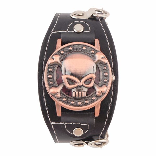 Skull Cover Quartz Watch for Men Women PU leather Wristband Bracelet Biker Metal Relogio Masculino Wide Strap For Cool Gifts