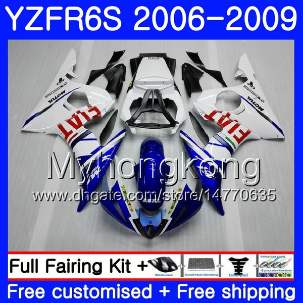 Body For YAMAHA YZF R6 S R 6S YZF600 YZFR6S 06 07 08 09 231HM.17 YZF-600 YZF R6S light blue white YZF-R6S 2006 2007 2008 2009 Fairings Kit