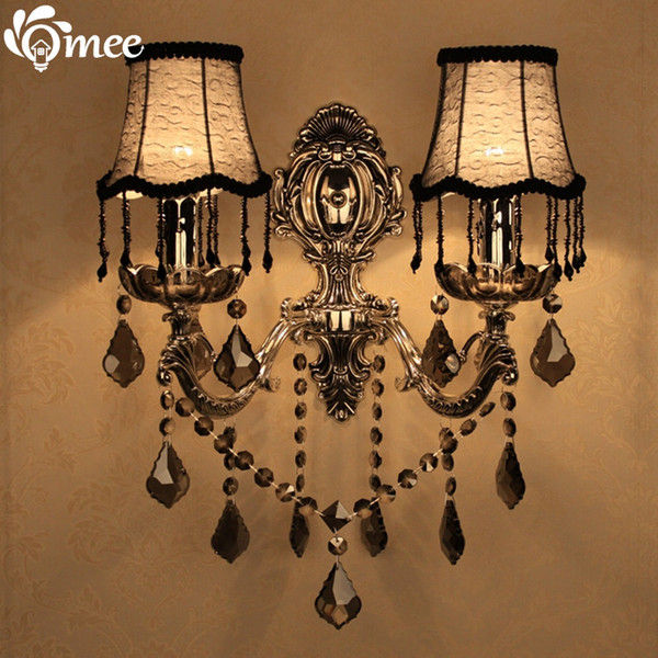 Modern Black Crystal Wall Lamps Luxury Lampen European Candle Led sconce wall Lampade Fixtures Cover Bed room Living Lights