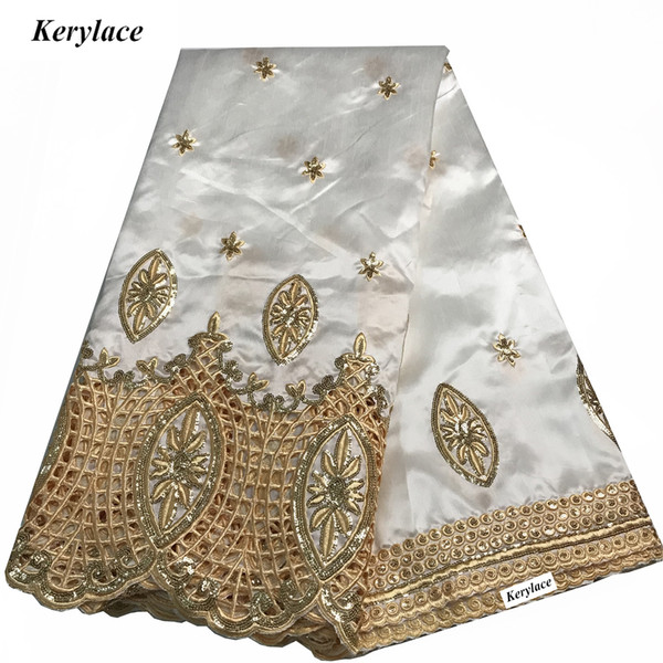 KERYLACE 5Y High Quality Nigerian George Lace New Silk African George Fabric Sequin Fabric Style Embroidered Women Clothing Dresses Party