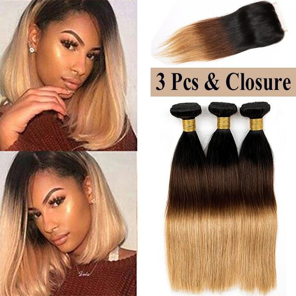 Ombre capelli lisci vergini 3 bundles con 4x4 chiusura estensioni dei capelli umani lisci indiani 3 toni ombre capelli indiani tessute 8