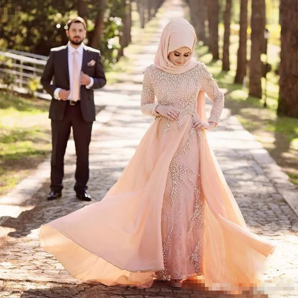 High Neck Blush Pink Muslim Evening Formal Dresses With Long Sleeve 2019 Modest Beadwork Lace Pearls Chiffon Skirt Dubai Arabi Prom Gown