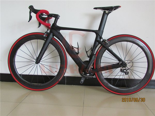 LURHACHI Carbon Fiber Complete Bike Carbon Road Bike Bicycle Frame+Dimple Carbon Wheels+Carbon Handlebar/Saddle+R8000 Groupset