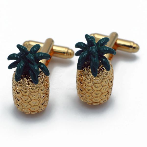 Ananas Kol Düğmeleri Kalite Pirinç Malzeme Altın Renk Roman Meyve Tasarım Ananas Şekli Düğün Parti Hediye için Kol Düğmeleri
