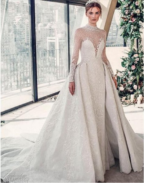 2018 luxury wedding dress high-end Gorgeous wedding dresssA line embellished with 3D flowers, silk threads, sequins, pearls and crystals.02