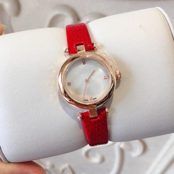 orologio cinturino in pelle all'ingrosso nuove donne di modo Abito Orologi Casual Relogio Feminino lusso vestito dalla signora quarzo della signora di modo rosso