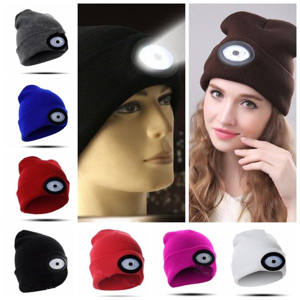 14 color LED Beanie Cap 6 LED Rechargeable Lighted Hat LED Head Light Flashlight For Outdoor Fishing Camping hat KKA5924