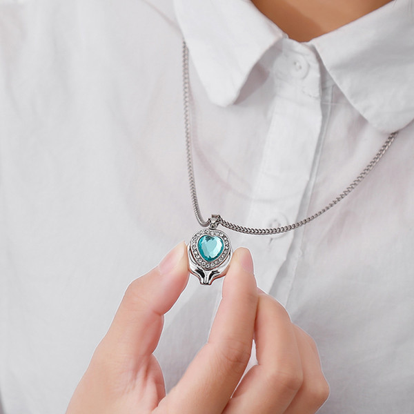 Luxury Necklaces Valentine's Day Wedding Pet Osseous Remains Commemorate Blue Gem Love Type Necklace Heart Shaped Pendant#117