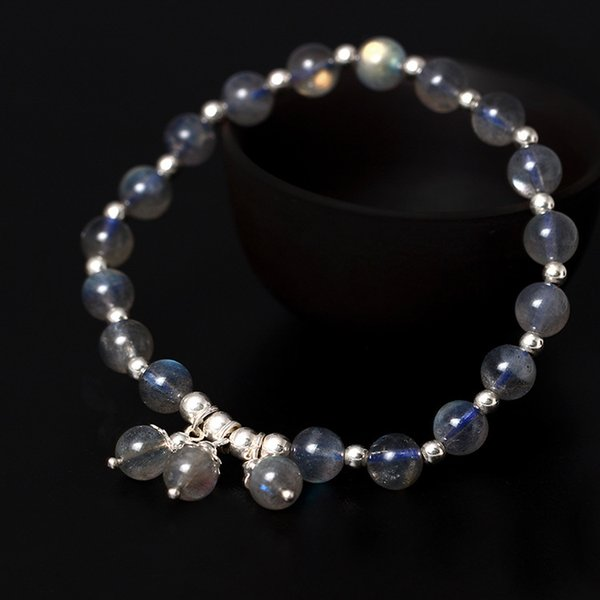 Moonstone jewelry Original design s925 sterling silver hand string girl natural moonlight stone bracelet silver jewelry wholesale